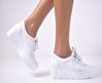 Дамски  обувки на платформа сестествена кожа бяли NQZB-1013625