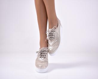 Дамски  обувки на платформа сестествена кожа бежови JMYJ-1013626