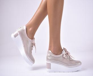 Дамски  обувки на платформа сестествена кожа пудра FIKV-1013628