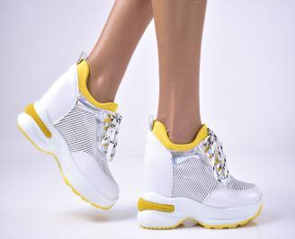 Дамски обувки на платформа еко кожа бели UVNF-1013629