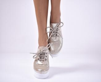 Дамски  обувки на платформа сестествена кожа бежови ISPF-1013630