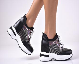Дамски обувки на платформа еко кожа черни HYDI-1013631