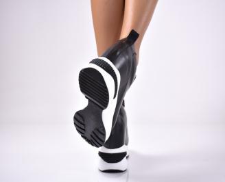 Дамски обувки на платформа еко кожа черни HLHK-1013633