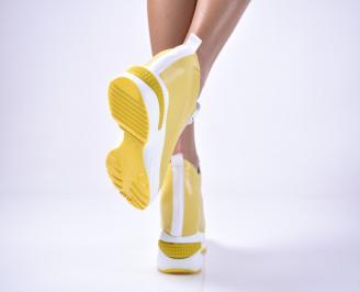 Дамски обувки на платформа еко кожа жълти VJRN-1013636
