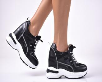 Дамски обувки на платформа еко кожа черни QNEO-1013638