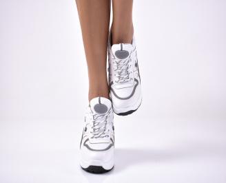 Дамски обувки на платформа еко кожа бели GOAL-1013640
