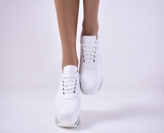 Дамски  обувки на платформа естествена кожа бели UDXQ-1013668