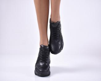 Дамски обувки на платформа естествена кожа черни LIGJ-1013685