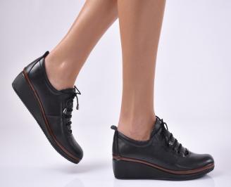 Дамски обувки на платформа естествена кожа черни AOHK-1013737