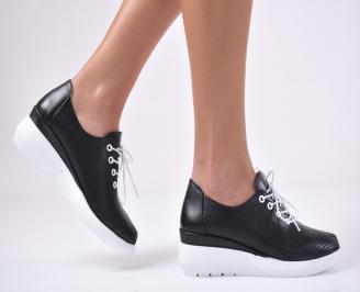 Дамски обувки на платформа естествена кожа черни. TJUH-1013739