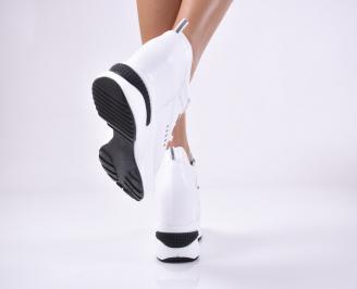 Дамски обувки на платформа еко кожа бели MIYI-1013741