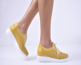 Дамски обувки на платформа естествена кожа жълти JDRS-1013743