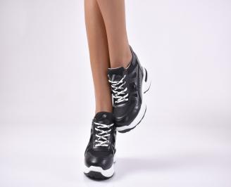 Дамски обувки на платформа еко кожа черни OEVC-1013748