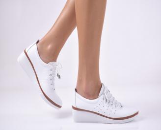 Дамски обувки на платформа естествена кожа бели CRPU-1013753