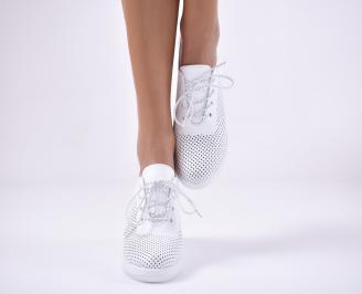Дамски обувки на платформа естествена кожа бели ZONV-1013760