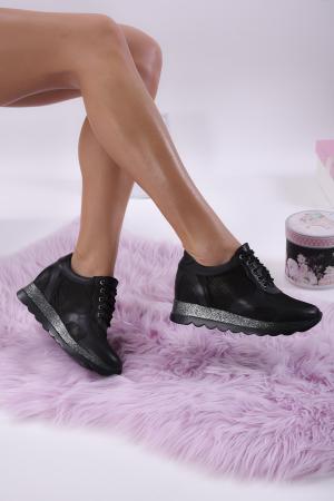 Дамски обувки на платформа естествена кожа черни. HMBM-1013843