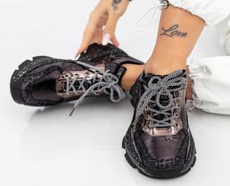 Дамски обувки на платформа черни ODMR-1014612