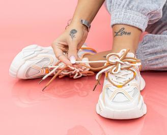 Дамски обувки на платформа бели HSBX-1014625
