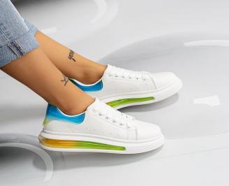 Дамски обувки на платформа бели FENP-1014626