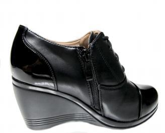 Дамски обувки на платформа еко кожа черни YBDB-22319