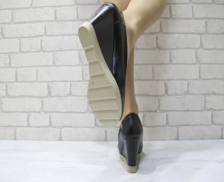 Дамски обувки на платформа еко кожа черни SESI-22899
