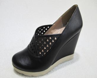 Дамски обувки на платформа еко кожа черни XUPH-22900