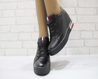 Дамски обувки на платформа еко кожа черни BSDO-23054