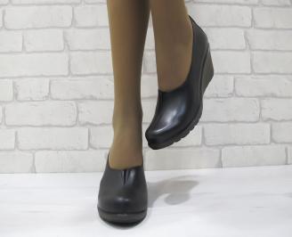 Дамски обувки на платформа естествена кожа черни DTCL-23123