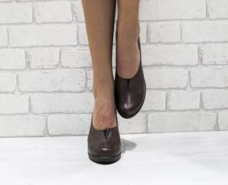 Дамски обувки на платформа естествена кожа  кафяви IVYG-23132