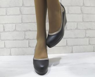 Дамски обувки на платформа черни с бежово  еко кожа SYFO-23286