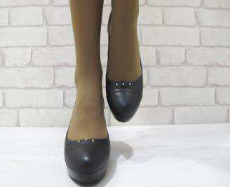 Дамски обувки  на платформа черни  еко кожа WEAJ-23288