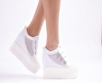 Дамски обувки на платформа текстил бели OGSL-23343