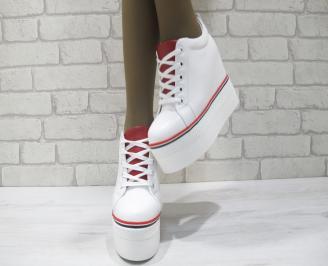 Дамски обувки на платформа еко кожа бели ARWU-23346