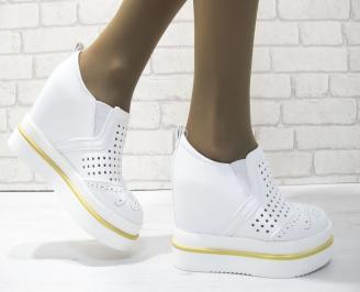 Дамски обувки на платформа еко кожа бели CKRF-23491