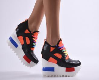 Дамски обувки на платформа еко кожа черни HIBD-23493