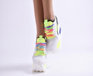 Дамски обувки на платформа еко кожа бели MVRC-23494