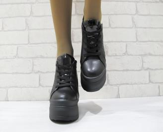 Дамски обувки на платформа еко кожа черни VVKZ-23686