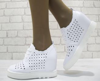 Дамски обувки на платформа еко кожа бели KWWF-23724