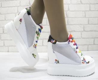 Дамски обувки на платформа еко кожа бели NSLD-23732