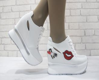 Дамски обувки на платформа текстил бели KEQV-23800