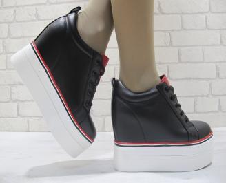 Дамски обувки на платформа еко кожа черни HVPW-23835