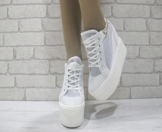 Дамски обувки на платформа текстил бели GRJG-23836
