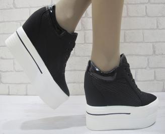 Дамски обувки на платформа еко кожа черни HVHD-23837