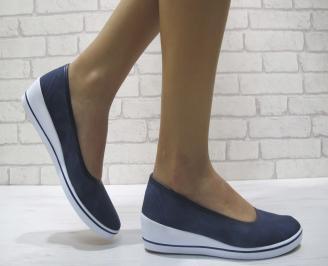 Дамски обувки на платформа текстил тъмно сини ROXM-23986