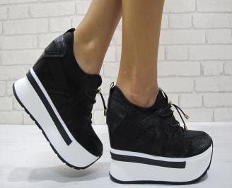 Дамски обувки  на платформа текстил черни BKSC-24189