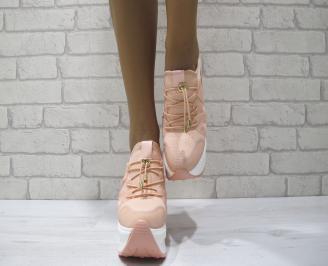 Дамски обувки  на платформа текстил розови ZVRM-24190