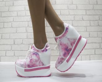 Дамски обувки  на платформа текстил/еко кожа  розови BJZL-24462