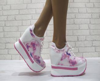 Дамски обувки  на платформа текстил/еко кожа  розови