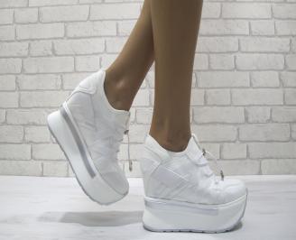 Дамски обувки  на платформа текстил/еко кожа сребристи VTJL-24463