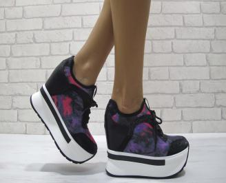 Дамски обувки  на платформа еко кожа /текстил черни MLTB-24464